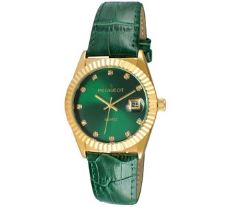 Peugeot Women's Goldtone Coin Bezel Green Leather Watch - J344593