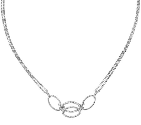 "14K White Gold Double Strand Oval Link 17-1/2""Necklace, 2.2g"