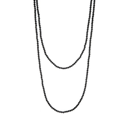 "JAI 36"" Sterling Silver Black Spinel Bead Necklace"
