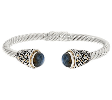 """As Is"" Artisan Crafted Sterl. Silver & 18K Gold Gemstone Cuff Bracelet"