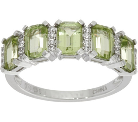 Emerald Cut 5-Stone Peridot Sterling Silver Band Ring 2.50 cttw