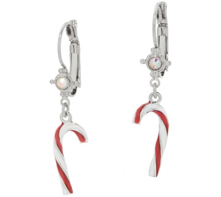 Kirks Folly Candy Cane Leverback Earrings