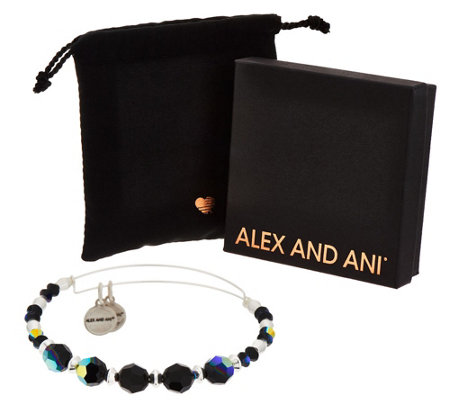Alex and Ani Silvertone Swarovski Crystal Bangle