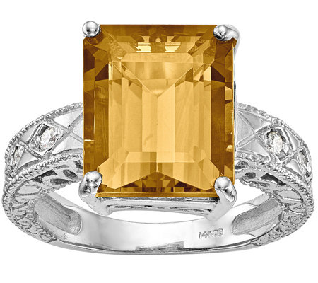 14K Emerald Cut Gemstone & Diamond Accent Ring