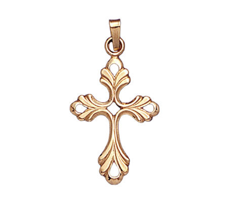 14K Yellow Gold Cross Pendant w/ Pierced Centerand Corners