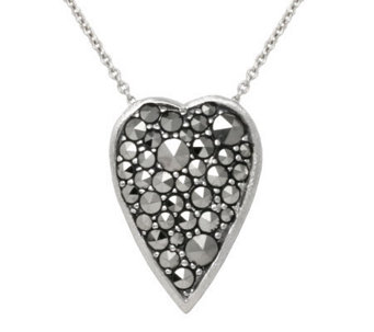 "Suspicion Sterling Marcasite Heart Pendant with18"" Chain - J112494"
