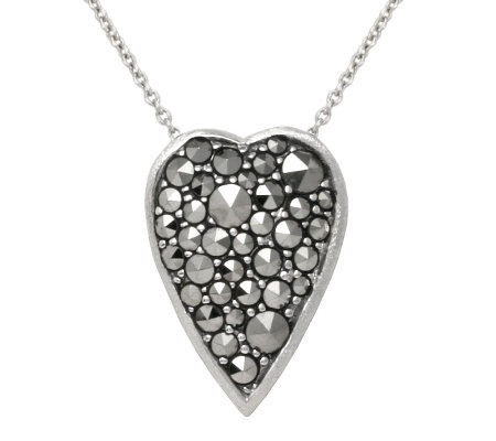 "Suspicion Sterling Marcasite Heart Pendant with18"" Chain"