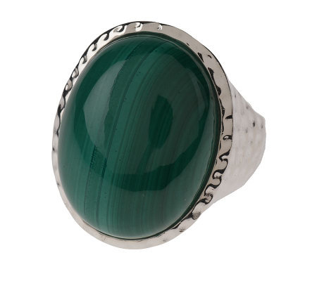 Sterling Oval Malachite Hammered Ring