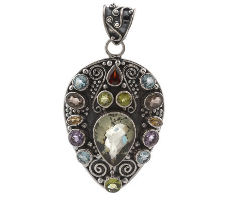 Artisan Crafted Sterling 17.00 cttw Multi-gemstone TeardropPendant