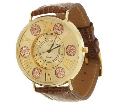 Vicence Round Face Watch with Drusy Quartz 14K Gold