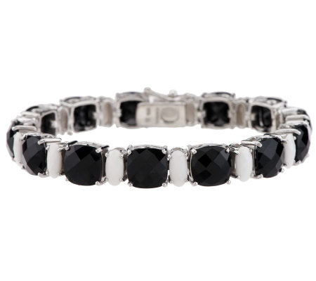 "Thai Black Onyx & White Agate Cushion Cut Sterling 6-3/4"" Tennis Bracelet"