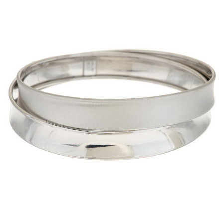 Italian Silver Sterling Large Cross-Over Design Round Bangle, 22.0g