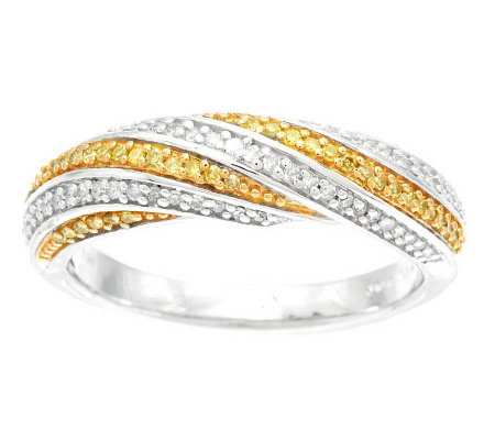 Color & White Band Diamond Ring, Sterling 1/4 cttw by Affinity