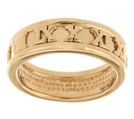 Roman Numeral Eternity Band Ring 14K Gold