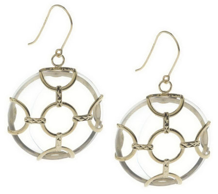 """As Is"" Round Gemstone Earrings with Circle Overlay Design, 14K"