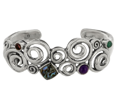 Carolyn Pollack Whirlwind Sterling Abalone Doublet Cuff