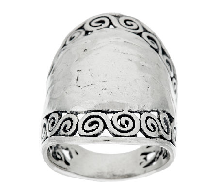 Sterling Silver Hammered & Scroll Design Ring by Or Paz