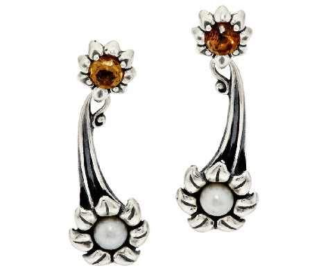 Carolyn Pollack Cultured Pearl & Citrine Sterling Flower Earrings