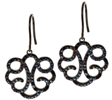 Vicenza Silver Sterling Crystal Scroll Design Dangle Earrings