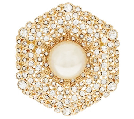 Linea by Louis Dell'Olio Pave' Simulated Pearl Pin