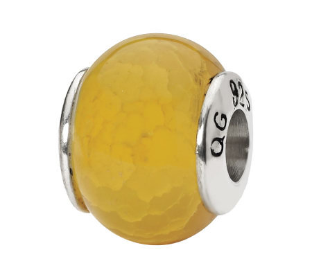 Prerogatives Sterling Yellow Crackle Agate Gemstone Bead