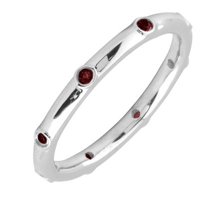 Simply Stacks Sterling Garnet Multi-stone Stackable Ring