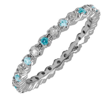 Simply Stacks Sterling Aquamarine & Diamond Stackable Ring