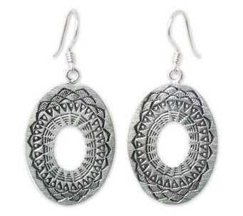 "Novica Artisan Crafted Sterling ""Lotus Shield""Dangle Earrings - J307694"