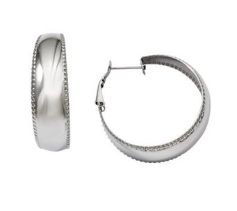 Stainless Steel Polished & Textured Edge Hoop Earrings - J308294