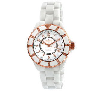 Peugeot Women's Swiss Ceramic Swarovski White Dial Watch - J308594