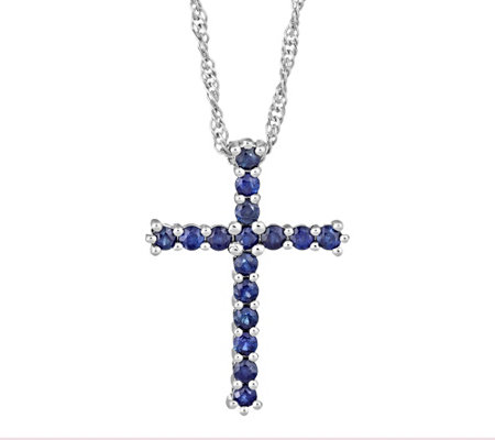 "Sterling 0.60 cttw Sapphire Cross Pendant with18"" Chain"
