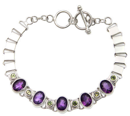 Novica Artisan Crafted Sterling Amethyst & Peridot Bracelet
