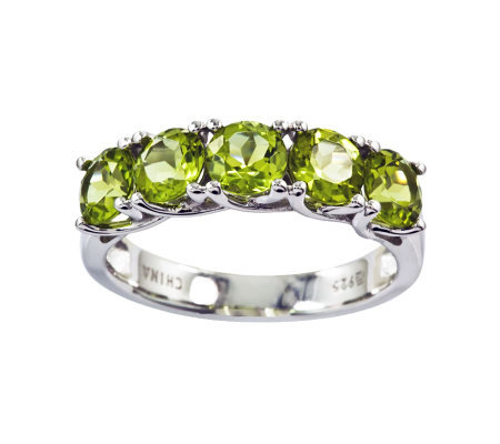 Sterling 2.75 cttw Peridot 5-Stone Ring