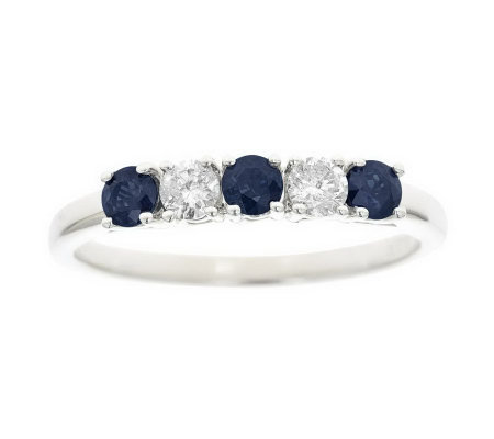 0.40 cttw Sapphire and 1/7 cttw Diamond 5-StoneBand Ring, 14K