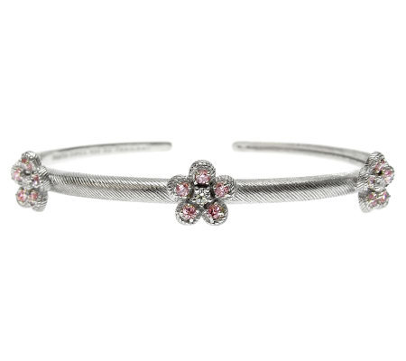 Judith Ripka Sterling Pink & Clear Diamonique Flower Cuff