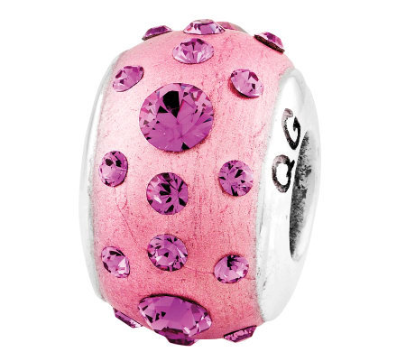 Prerogatives Sterling Pink Molded Swarovski Crystal Bead