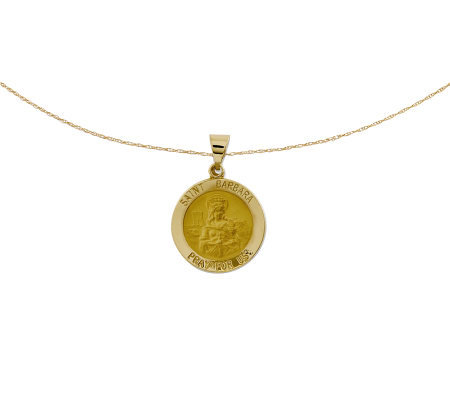 "Polished Saint Barbara Pendant w/ 18"" Chain, 14K Gold"