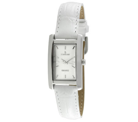 Peugeot Women's Silvertone White Leather StrapWatch