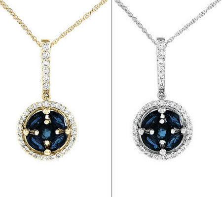 "Gemstone & 1/6 cttw Diamond Round Pendant w/ 18"" Chain, 14K"