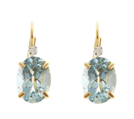 14K Yellow Gold Oval Aquamarine Diamond AccentEarrings