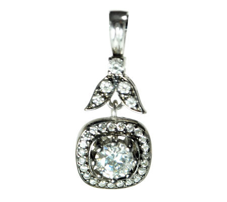 Diamonique 2.30 ct tw Sterling Square-Shaped Pendant