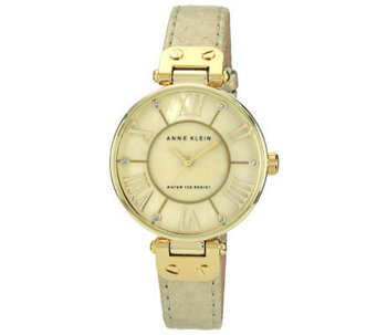 Anne Klein Women's Goldtone Leather Strap Watch - J315594