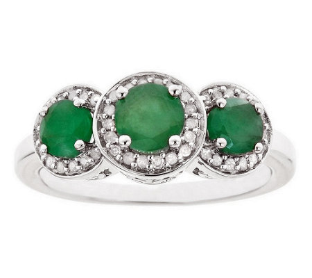 Sterling Silver 0.80 cttw Emerald & 1/8 cttw Diamond Ring