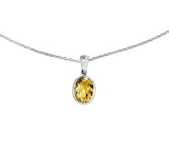 "Sterling Oval Gemstone Pendant with 18"" Chain - J315894"