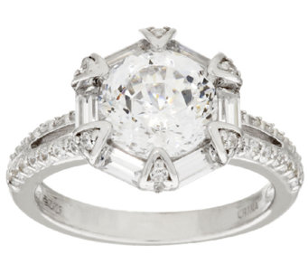 Diamonique 100-Facet Fancy Halo Ring, Platinum Clad - J317994