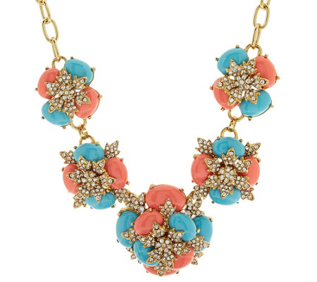 "Joan Rivers Jeweled Cabochon 18"" Statement Necklace"
