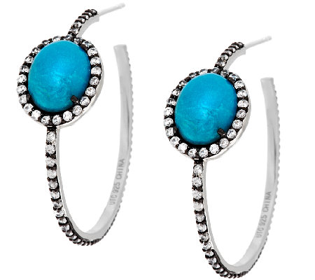 """As Is"" Graziela Gems Sleeping Beauty Turquoise & Zircon Earrings"