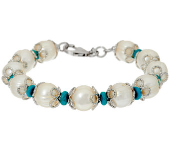 Honora Cultured Pearl 11.0mm and Turquoise Bronze Bracelet - J319994