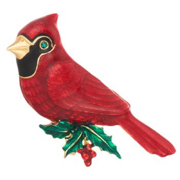 Joan Rivers Flights of Fantasy Cardinal Bird Pin