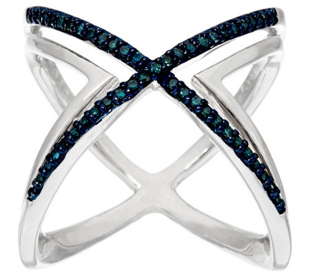 Diamond X Ring, Sterling, 1/4 cttw, by Affinity